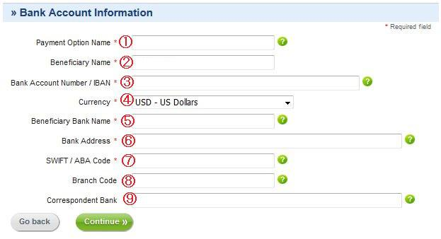 銀行登録情報