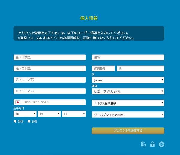 ベラジョン 登録情報2